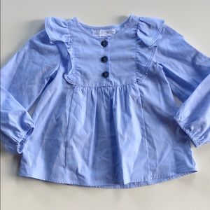 Zara | Blue Long Sleeve Ruffled Blouse | 4-5 Years